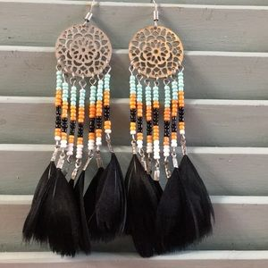 Dream catcher feather and bead earrings